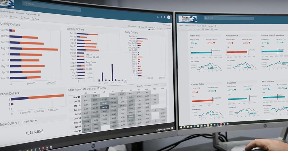 Rollmaster analytics screenshot on dual desktop screens