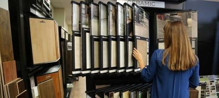 Woman browsing flooring samples