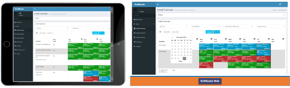 Install calendar screenshot on tablet and desktop with Rollmaster Mobile App