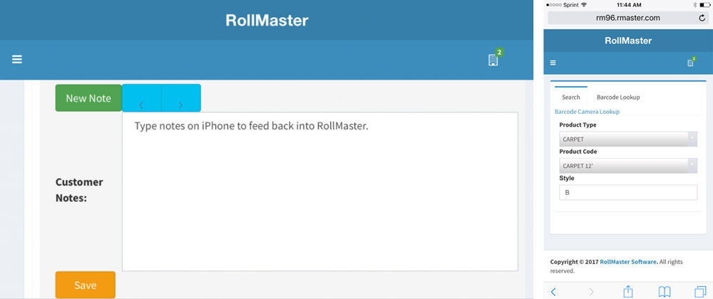 Customer notes screenshot for salespeople on Rollmaster Mobile App