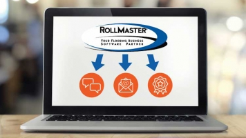Rollmaster digital marketing hub screenshot on laptop.