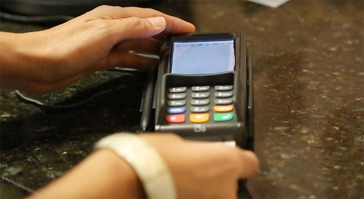 Credit card processing using gravity payments.