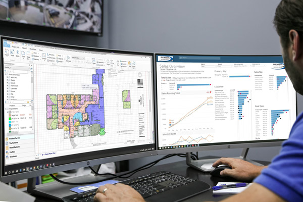 Commercial Flooring Software on double computer screen